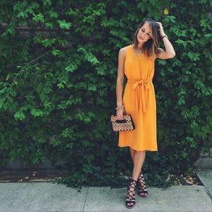 Trapeze Tie-Front Midi Dress Arizona Orange 2